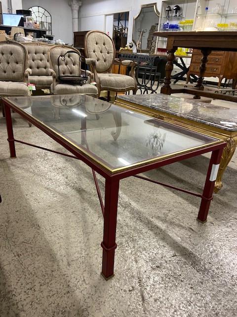 Table basse moderne verre et laiton