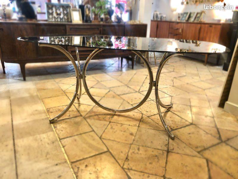 Magnifique table verre vintage