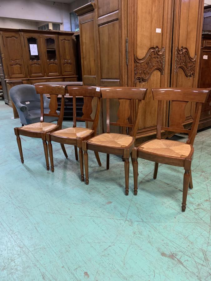 Série de quatre chaises en merisier