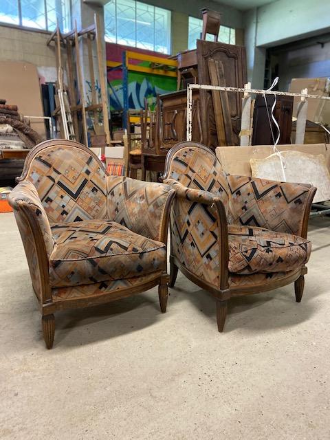 Paire de fauteuils art deco à retapisser