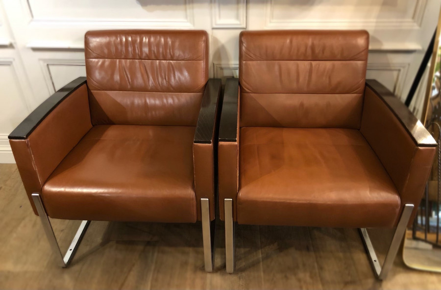 Paire de fauteuils rétro en cuir