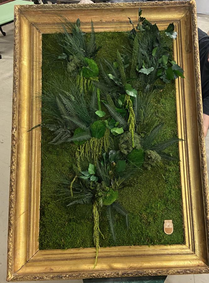Cadre ancien décoré de végétaux stabilisés